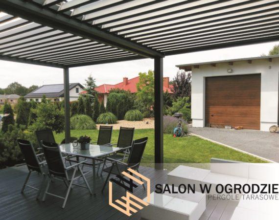 salon w ogrodzie altana na tarasie zadaszenie zabudowa tarasu pergola aluminiowa