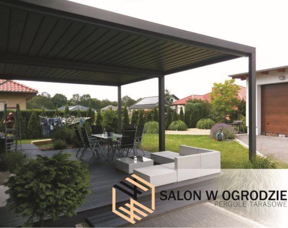 salon w ogrodzie pergole aluminiowe żaluzja dachowa zadaszenie tarasu