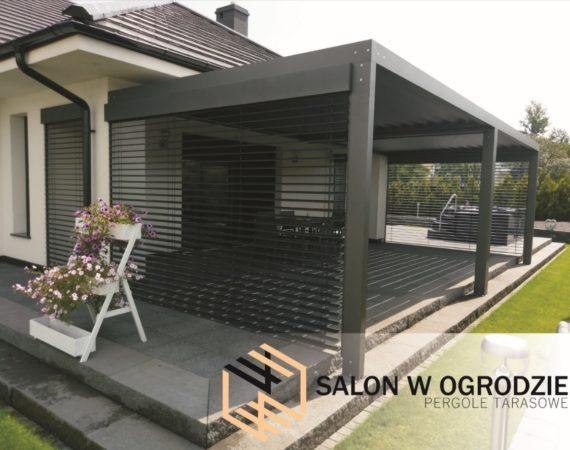 zabudowa tarasu nowoczesne zadaszenie salon w ogrodzie pergola tarasowa aluminium